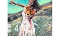 Ελαιογραφία αντίγραφο Νο 1082 κοπέλα με βιολί / ζωγράφος Κουμπής