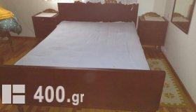 κρεβατοκάμαρα ξύλινη με στρώμα & 2 κομοδίνα