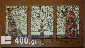 Ζωγραφική-αντίγραφο-Τρίπτυχο σε διπλό καμβά 55Χ95 εκ. by Klimt
